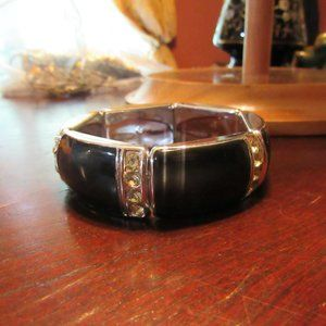 Black Enamel & Silver Rhinestone Stretch Bracelet
